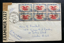 1941 Poughkeepsie Ny Usa Censored Airmail Cover To London England