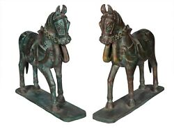 Antique Handcrafted Horse Statue Pair Wooden Fine Painted Collectible Indian Hom