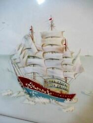 Vintage Chinese Mother Of Pearl Abalone Shell Art Nautical Ship Shadow Box