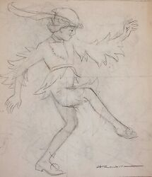 Auguste Roubille - Drawing - Pencil - The Dancer And The Mask 2