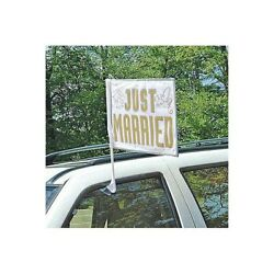 Just Married Car Flag Wedding Flag Just Married Wedding Decoration Party Gold