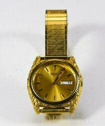 Seiko Gold Nugget Overlay Quartz Menand039s Watch Stretch Band By Orocal