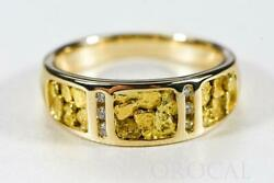 Gold Nugget Men's Ring Orocal Rm732d12 Genuine Hand Crafted Jewelry - 14k Cast