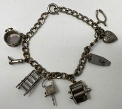 Estate Vintage Sterling Silver Puffy Heart Charm Bracelet With Moveable Charms
