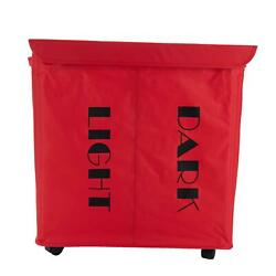 Mind Reader Double Rolling Hamper Laundry Sorter With Lid, Wheels, Handles, Red