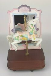 Carousel Horse Music Box Vintage Gifted 1989 Bisque Carousel Waltz Pink Purple