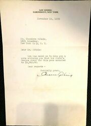 Lou Gehrig One-of-a-kind Orig 1939 Eleanor Gehrig Signed Letter To Accountant