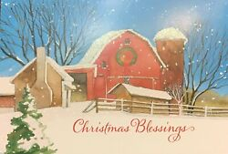 Vintage Christmas Greeting Cards Glitter Snow Covered Red Barn Country Scripture