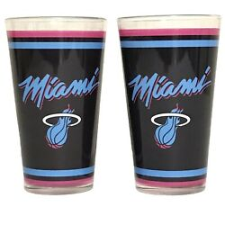 Miami Heat Vice Nba Official Glass Cup Set Drinking Glasses Black Basketball