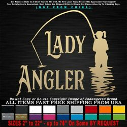 Fishing Girl Lady Angler Trout Walleye Salmon Bass Crappie Decal Sticker