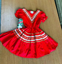 1950-1960's Childs Dress Vintage Cow Girl W Penny's Ranchcraft Label Red And Gold