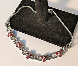 Vintage Signed Pennino Red And Clear Rhinestone Silver Tone Choker Necklace