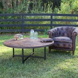 Round Coffee Table From Recycled Vintage Wood Wagon Wheel Designer Choice