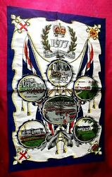 Vintage Collectible - The Queenand039s Silver Jubilee Tea Towel Cotton