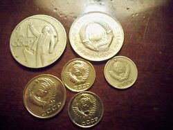 Russian Coins. And Gold Plated Russia Coin Lot. See Pics.