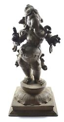 Antique Handcrafted Lord Ganesha Statue Brass Indian Fine Carved Decorative