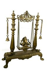 Vintage Lord Ganesha Figurine Statue Seating Swing Brass Mouse Decorative Item