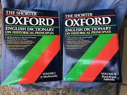The Shorter Oxford English Dictionary On Historical Principles Volumes 1 And 2 Vgc