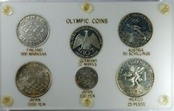 World Olympic Coins In Capital Style Holder Finland Japan Austria Mexico