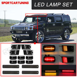 14x Smoked Led Roof Cab Running Lights Side Marker Lamps Set For 03-09 Hummer H2