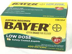 400 Enteric Coated Tablets of Aspirin Bayer Pain Reliever 81mg New 04 2022 $16.99