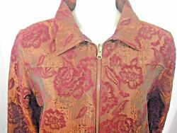 Coldwater Creek Tapestry Jacket Small S Burgundy Rust Zip Front