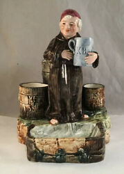 Antique Majolica Pottery Figural Smoke Stand Match Holder With Monk Holding Mug