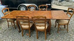 Vintage Antique French Country Oak Dining Table And 6 Chairs