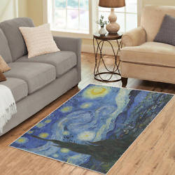 Starry Night Van Gogh Area Rugs Vintage Art Carpet - 3 Sizes To Choose From