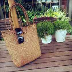Women Rattan Woven Handmade Handbag  Knitted Straw Large Capacity Totes Women Sh $9.95