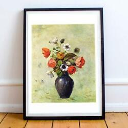 Odilion Redon French Post-impressionism 01 Anemones Poppies Vase 22x28 Inches