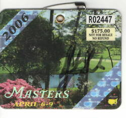 Phil Mickelson Pga Signed 2006 Masters Badge Autograph Beckett Coa