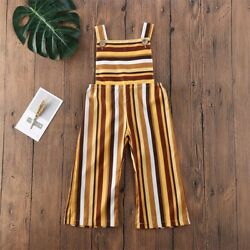 NEW Girls Striped Overalls Romper Jumpsuit
