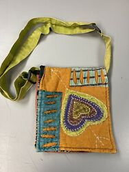 Used Small Messenger Bag Nepal Crossbody Style Heart And Arrow Hippie Bag $9.95