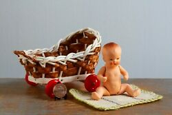 Vintage Bisque Porcelain Mini Jointed Baby Doll in a Stroller Made in Germany