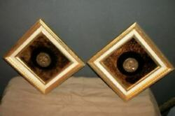 French Cherub Coin Mottled Mirror Glass Wall Art Plaques Wood Foil Mid Century