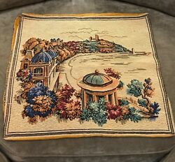 Vintage Circa 1940 Large Tapestry Mediterranean View Italian Cushion Cover