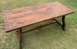 Antique Trestle Table With Three Board Table Top And Lyre Shaped Base Supports