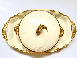 Antique Rare China Cfh Gdm France French Casserole Pot And Platter With Gold Rim