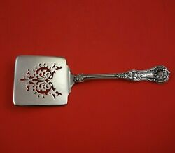 English King By And Co Sterling Silver Waffle Server Pierced Floral 9