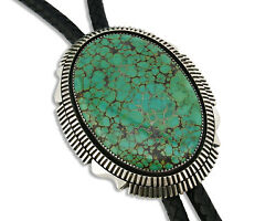 Navajo Bolo Tie .925 Silver Large Spiderweb Turquoise Artist Begay C.90's