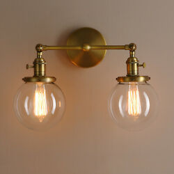 5.9 Globe Antique Industrial 2-light Wall Sconce Twin Glass Lampshades W Switch