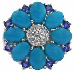 Sleeping Beauty Turquoise Natural Gemstone Ring 5.83 Ct. 18k Yellow Gold Jewelry