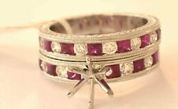 14k White Gold Diamond Ruby Engagement Mounting + Wedding Band Set New With Tags