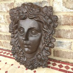 Large Cast Iron Plaque Womans Face Gothic Haunted Mansion Style Madame Leota
