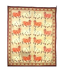 Vintage Handmade Wall Hanging Pichwai Thread Work Cows Panel Holy Wall Décor Art