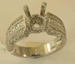 14k White Gold Diamond Engagement Ring Mounting Size 6 1/4 New With Tags