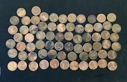 Lot Of 70 Lincoln Penny Cent Pre 1982 Copper Toned Some Unc