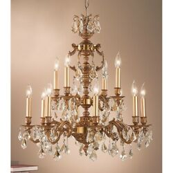 Classic Chateau 12 Lt Chandelier French Gold Crystalique-plus - 57379fgcp