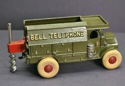 Vintage Hubley Cast Iron Bell Telephone Truck And Auger 9 1/2 Original Paint